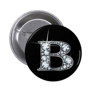 """B"" Diamond Bling Button"