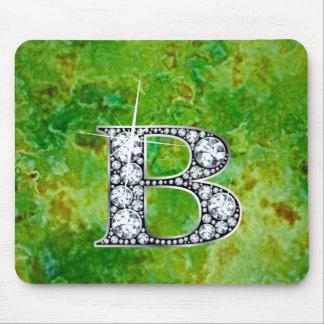 "B ""Diamond Bling"" Green Granite Mousepad"