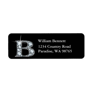 """""""B"""" Diamond Bling Monogram Return Address Label"""