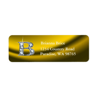 """B """"Diamond"""" Bling Monogram Return Address Label"""