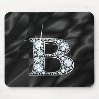 "B ""Diamond Bling"" on Black  Mousepad"
