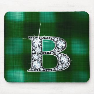 "B ""Diamond Bling"" on Plaid Mousepad"