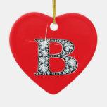 """B"" Diamond Bling on Red Ornament"