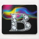 """B"" Diamond Bling with Rainbow Swirl Mousepad"