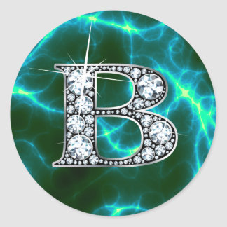 "B ""Diamond"" Monogram & Lightning Stickers"