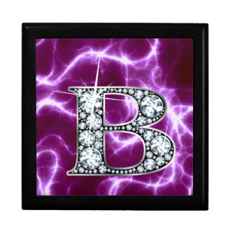 "B ""Diamond"" Monogram on Lightning Bolt Keepsake Box"