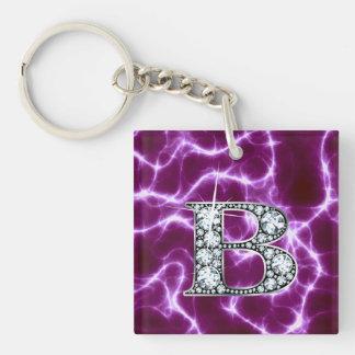 "B ""Diamond"" Monogram on Lightning Bolt Acrylic Keychains"