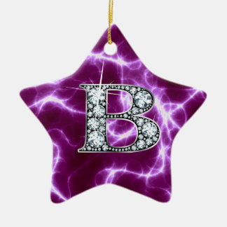 "B ""Diamond"" Monogram on Lightning Bolt Christmas Ornament"