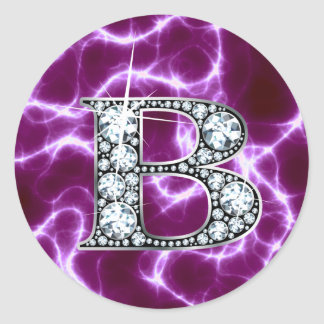 "B ""Diamond"" Monogram on Lightning Bolt Stickers"