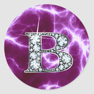 "B ""Diamond"" Monogram on Lightning Bolt Round Stickers"
