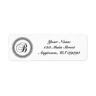 B Dot Circle Mongram Address Label (Black / Gray)