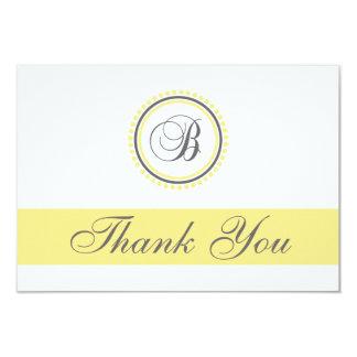 B Dot Circle Monogam Thank You Cards (Yellow/Gray)