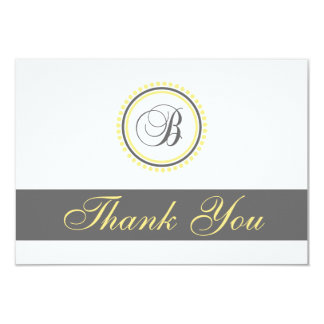 B Dot Circle Monogam Thank You Cards (Yellow/Gray)