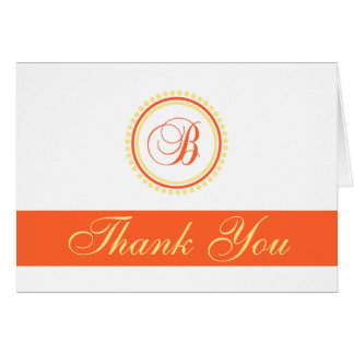 B Dot Circle Monogam Thank You (Orange / Yellow) Card