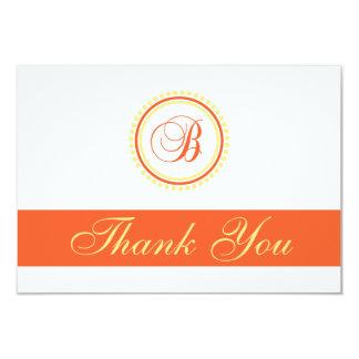 B Dot Circle Monogam Thank You (Orange / Yellow) 3.5x5 Paper Invitation Card