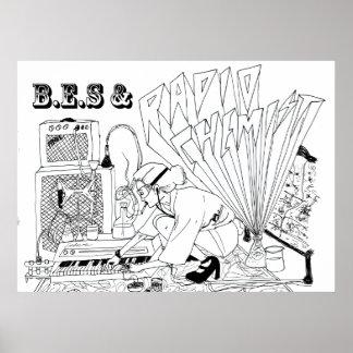 B.E.S y poster de radio del químico