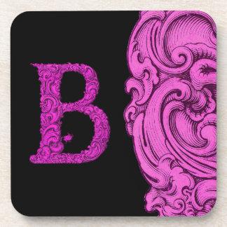 B - El alfabeto de Falck (rosa) Posavasos De Bebidas