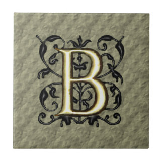 B - Embossed Vintage Monogram (Gold) Ceramic Tile