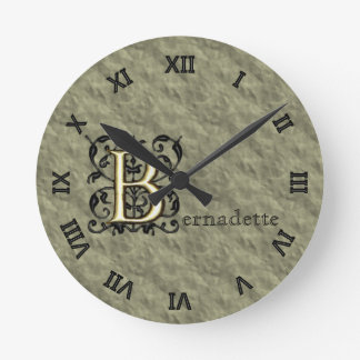 B - Embossed Vintage Monogram (Gold) Round Wallclock