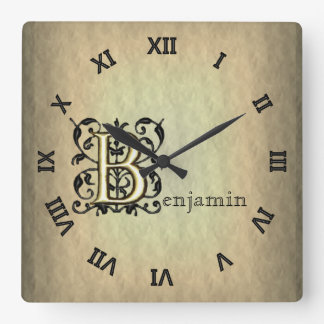 B - Embossed Vintage Monogram (Gold) Square Wall Clocks