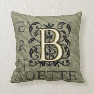 B - Embossed Vintage Monogram (Gold) Throw Pillow