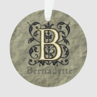B - Embossed Vintage Monogram Ornament