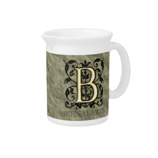 B - Embossed Vintage Monogram Pitcher