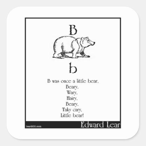 B era una vez un poco oso pegatina cuadrada