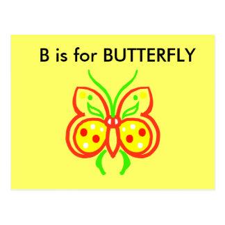 """""""B"""" está para el alfabeto Flashcard de la mariposa Tarjetas Postales"""