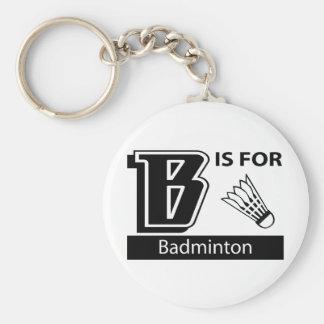 B está para el bádminton llaveros personalizados