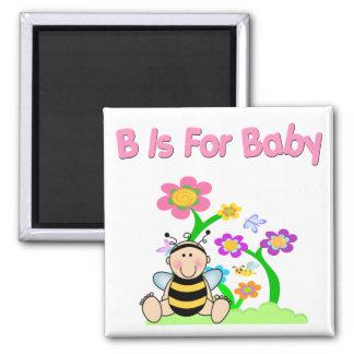 B está para el bebé imán cuadrado