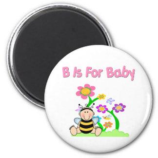 B está para el bebé imán redondo 5 cm