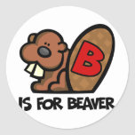 B está para el castor etiqueta redonda