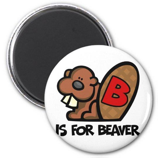 B está para el castor imán redondo 5 cm