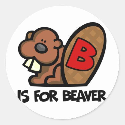 B está para el castor pegatina redonda
