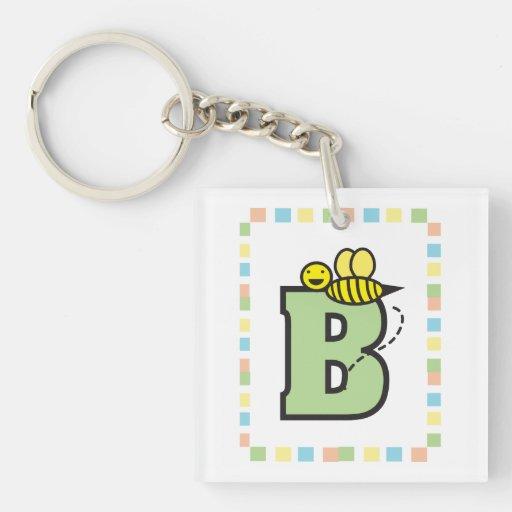 B está para el llavero de la abeja