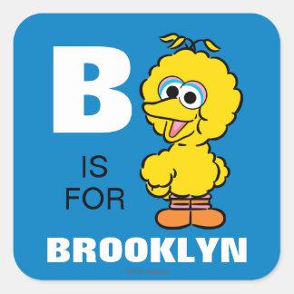 B está para el pájaro grande pegatina cuadrada