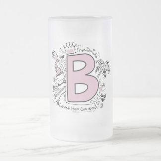 B está para el ROSA de la NOVIA Taza De Cristal