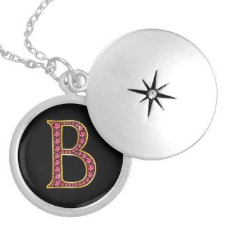 "B Faux-""Ruby"" Monogram Round Locket Necklace"