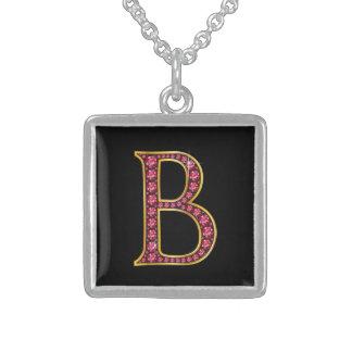 """B Faux-""""Ruby"""" Monogram Square Pendant Necklace"""