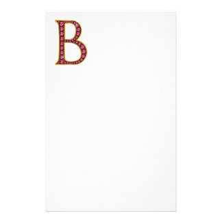 "B Faux-""Ruby"" Monogram Stationery"
