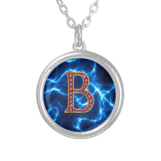 """B Faux-""""Ruby"""" Monogram with lightening Round Pendant Necklace"""