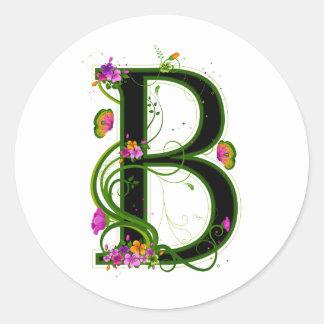 B floral pegatina redonda