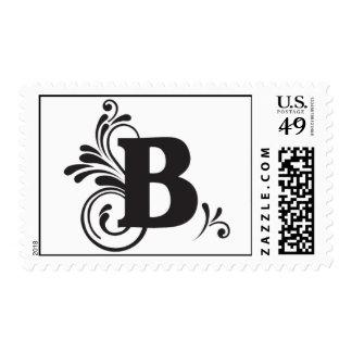 """B"" Flurry Monogram (Transparent Backgound) Postage"