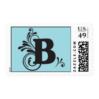 """B"" Flurry Monogram With Blue Background Postage"