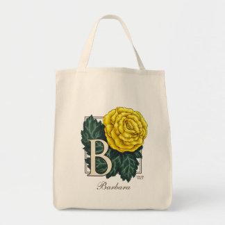 B for Begonia Flower Monogram Bag