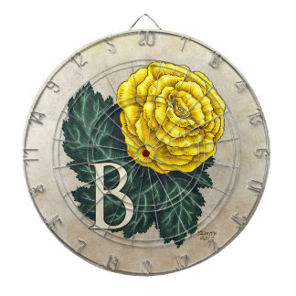 """B for Begonia"" Flower Monogram Dartboard With Darts"