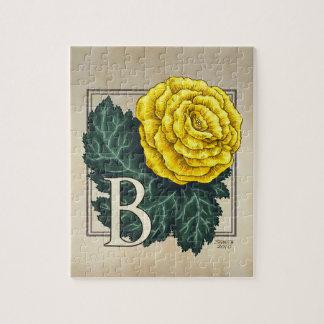 """B for Begonia"" Flower Monogram Jigsaw Puzzle"
