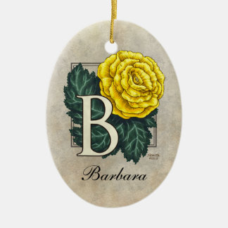 B for Begonia Flower Monogram Ornament with Name