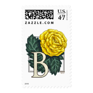 B for Begonia Flower Monogram Postage